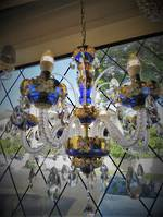 Striking French Blue Crystal Chandelier $4,750.00