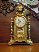 Decorative Italian Mantel Clock with Brass Ormolu  $950.00