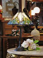 Tiffany Style Art Nouveau Lead-Light Table or Bedside Lamp