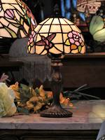Small Tiffany Art Nouveau Style Lead-lite Bedside Lamp with Mosaic Bird
