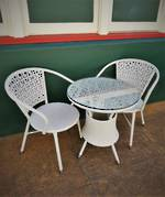 French Style Conservatory Set with Glass top and 4 chairs 1 table set SOLD