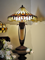 Striking 'One-Off' Arts & Crafts Tiffany Style Led-lite Table Lamp