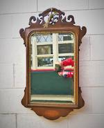 Antique English Mahogany Mirror with Gilt Beading & Shell Inlay Detailing $650.00