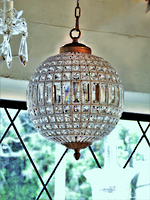 Crystal Ball Basket Chandelier with Hand-Beaded Framework