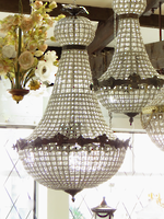 Huge Basket Chandelier, Hand-Beaded on a Bronzed Figural Frame $5595.00