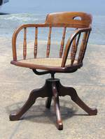 Antique Oak Captains Chair or Office Desk Chair With Swivel Base $750