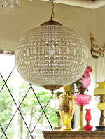 Large Spherical Crystal Basket Chandelier with Hand-Beaded Framework $2750.00