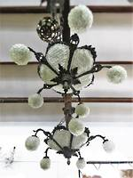 Large glass and pearl buttoned 5 armed Chandelier $3500.00 ONE ONLY!