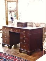 English Oak Antique Leather Top Pedestal Desk $2250.00