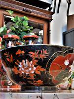 Large Vintage Chinese Famille Noire  Porcelain Bowl - Hand Decorated