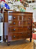 Georgian Cuban Mahogany Bow Front Chest of Drawers $2750