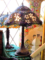 Fancy Lavender Serpentine Tiffany Style Table Lamp - $585