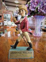 Vintage Rare Johnny Walker Advertising Bar Figure, Wooden Base $450.00