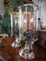 Large Candle Stands, Silver Plate & glass
