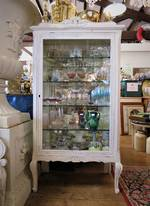Antique French Painted Mirror Backed Vitrine sold