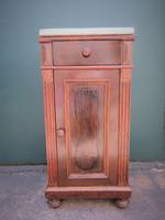 Antique French Mahogany Marble Topped Bedside Table $650.00