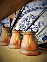 Antique copper measures - Tin lined Pouring Graduated Jugs $245.00