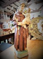 Antique Religious Plaster Statue - St Anthony
