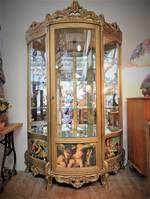 French Vitrine, Rococo Style with Cherub Decoupage SOLD