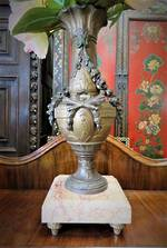 Antique French Bronze & Marble Centerpiece Vase $375