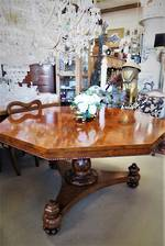 Regency Burr Walnut  Pedestal Table SOLD
