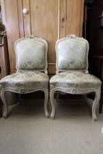 French Antique Salon Chairs with Silk Brocade $1190pr