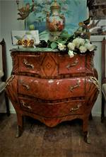 French Mahogany Inlaid Commode with Ormolu mounts & Marble Top  $2250