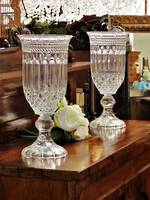 Large Pair Crystal Glass Hurricane Candle lanterns or Pedestal Vases SOLD