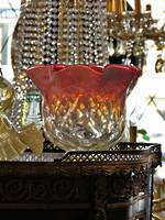 Vaseline Uranium & Ruby Antique Glass Light Shade $165