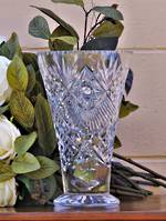 Large Heavy Cut Crystal Footed Vase - Edwardian
