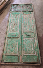 Large Early Rustic Ethnic Carved Entrance way Door
